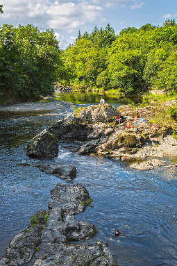 The Wye cuts through resistant rock near Builth Wells